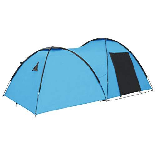 vidaXL Tienda de Campaña Tipo Iglú 4 Personas Azul Toldo Camping Senderismo Acampada Dormir Equitación Montañismo Desmontable Impermeable Azul