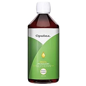Oputec 250 ml de glicerina vegetal en calidad farmacéutica – 0,25 litros de glicerol líquido en Ph. Calidad europea, para cremas, jabones, extractos y shisha – Calidad alimentaria sin perfume.