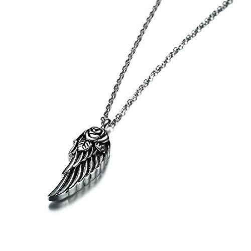 MKLI Cilindro de Acero Inoxidable, Acero de Titanio Flor de Rose del ala Cenizas se Puede Abrir el Colgante para Hombres y Mujeres,Silver