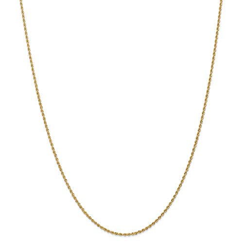 14k Yellow Gold 1.8mm Solid Link Rope Chain Necklace 24 Inch Pendant Charm Fine Jewellery For Women Gifts For Her