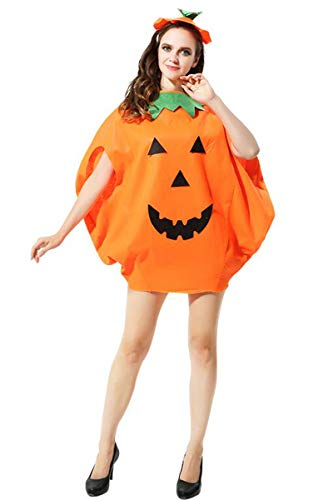 Adult Halloween 2PC Pumpkin Costume Funny Cosplay Party Clothes Orange