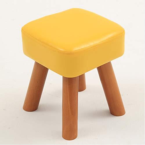 GSHWJS Kleine hocker Holz Home Fashion kreative Wohnzimmer hocker Kinder Sofa hocker Schuhe hocker couchtisch hocker 28x28x25 / 32 cm Kleiner Hocker (Color : Yellow, Size : Height 32 cm)