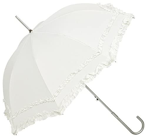 VON LILIENFELD Regenschirm Damen Mode Sonnenschirm Brautschirm Hochzeitsschirm Stockschirm Mary-Poppins-Schirm Automatik Mary ecru mit Rüschen