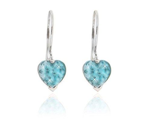 BoB C. Pendientes de corazón con piedra azul claro, fabricados en Alemania, plata de ley 925 rodiada.