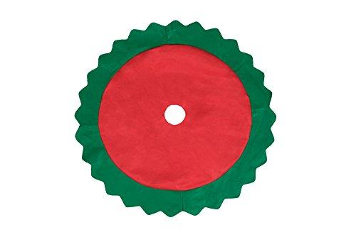 Clever Creations - Gonna Per Albero Di Natale - Ideale Per Pavimenti Puliti - Design Natalizio Tradizionale - Rosso Con Bordo Verde Smerlettato - Diametro 81 Cm