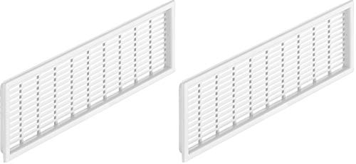 Gedotec Lochblech Kunststoff Lüftungsgitter rechteckig Tür-Gitter weiß - H4123 | Möbel-Gitter geschlitzt mit Abdeckrand zum Einlassen | 120 x 225 mm | 2 Stück - Abluftgitter für Holz-Zimmertüren