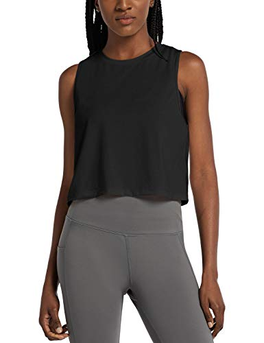 BALEAF Women's Workout Crop Tank Cropped Muscle Tops Cute Quick Dry Gym Yoga Shirts Black Size M