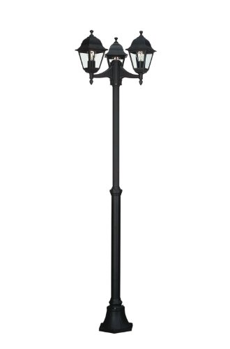 Massive 714270330 Outdoor standvoet/Post Lighting E27 zwart buitenverlichting - buitenverlichting (outdoor sokkel/post Lighting, zwart, aluminium, glas, metaal, IP44, tuin, transparant)