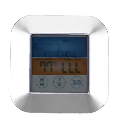 JRXyDfxn Fleisch-Thermometer-Digital-Grill Ofen Koch Thermometer Touchscreen Lebensmittel Edelstahl Sonden für Grill Küche rösten Silber TS-S64