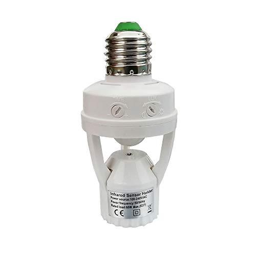 PIR Motion Sensor Light Socket,E26/E27 Smart Lamp Bulb Holder Adapter Auto On/Off Light Control Suitable For Garage Basement Porch Storage Room