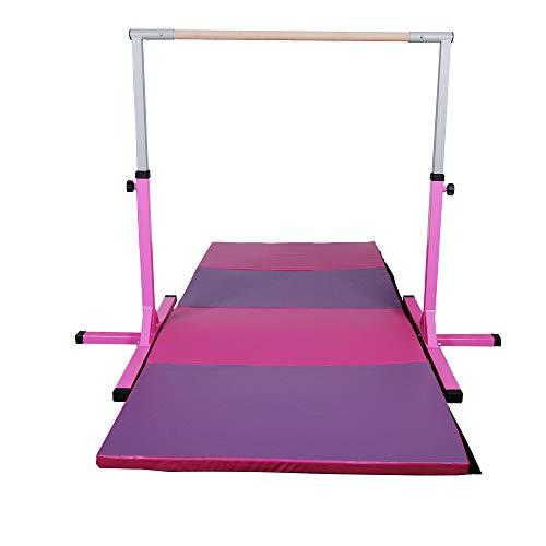 Polar Aurora Gym Gymnastics Training Bar AdjustaPIe Height Horizontal Bar Sturdy Gymnastic for Kids with 4