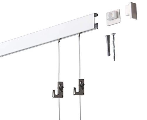 2 Meter SOFT-RAIL® Bilderschienen Set COMFORT, Weiß beschichtet, versch. Längen und Farben