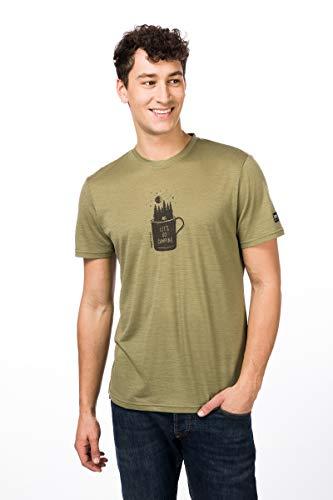 Super.Natural T-Shirt à Manches Courtes pour Homme avec Laine mérinos M Graphic Tee S Bamboo/Killer Kaki Camper Print.