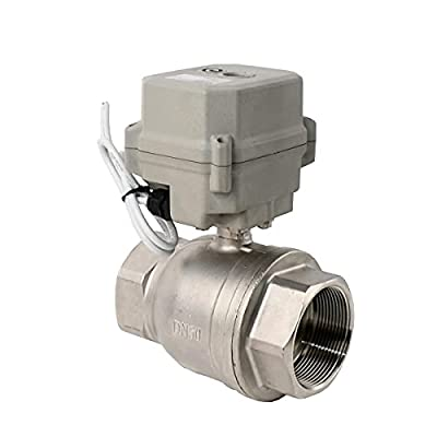 BOKYWOX DC 24V Motorized Ball Valve NPT 2'' Electrical Ball Valve CR2-01 with Manual Override & Indication Stainless Steel 304 from BOKYWOX