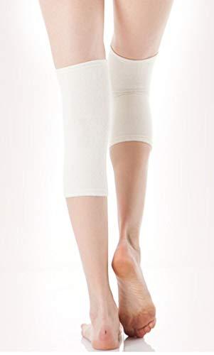 CzSalus Angebot: 2 Stück elastische Knie-Wärmer mit warmen Angora Wolle (naturfarben, one)