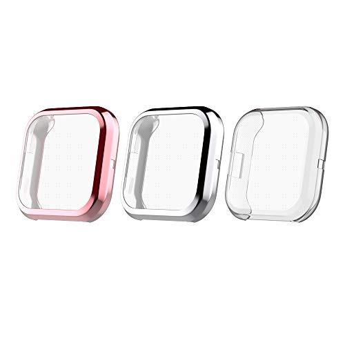 MoKo Protezione Orologio Compatible con Fitbit Versa 2, Custodia Protezione Schermo, Pezzi 3 con Colori, Anti Graffi, Urti, Accessori Orologio, Case per Versa 2 - Argento + Oro Rosa + Trasparente