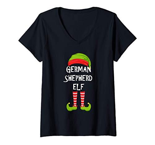 Mujer Duende alemán, duende a juego con el pijama de la fiesta fam Camiseta Cuello V