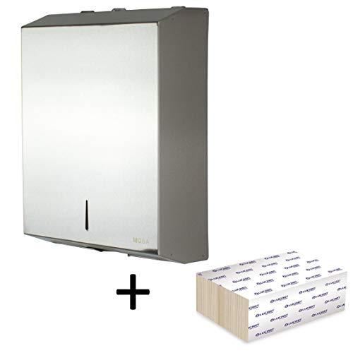 Mosa - Dispenser per asciugamani in acciaio inox spazzolato 201. Supporto da parete con 200 fogli di carta Z-Interfold Bloccabile, progettato per traffico elevato e ridurre le impronte digitali, L