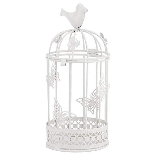 Fdit1 Candeliere a Forma di Gabbia Creativa Scava Il portacandele in Ferro con Ornamenti per la casa con Decorazioni di Uccelli e Farfalle(Bianco)