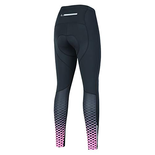 Women Cycling Tights with Thickness PaddingCycling Bike Pants with One PocketM Pink