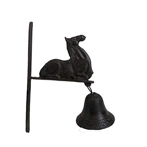 Kanqingqing-Home Rustieke deurbel creatief gietijzeren tuindecoratie ligstoel paard bel-rack craft aanhanger muur decoratie voor tuin boerderij yard ship bel vintage stijl muur
