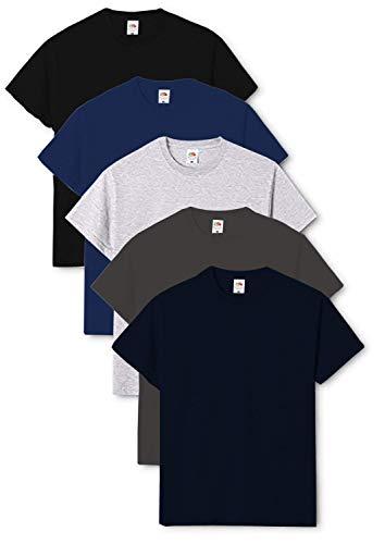 Fruit of the Loom Original - Camiseta de hombre cuello redondo (pack de 5) Negro/Azul Marino/Gris jaspeado/Grafito Claro/Azul Marino XXL
