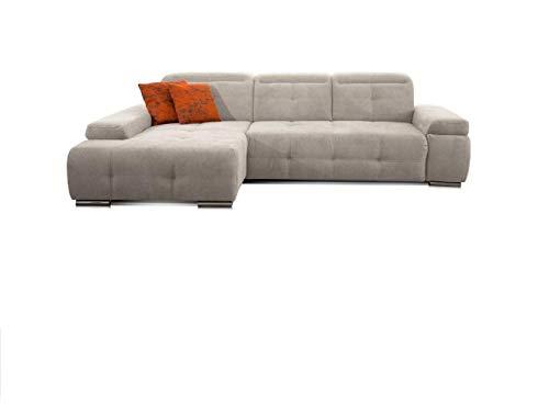 CAVADORE Ecksofa Mistrel mit Longchair XL links / Große Eck-Couch im modernen Design / Inkl. verstellbaren Kopfteilen / Wellenunterfederung / 273 x 77 x 173 / Kati Grau-Weiss