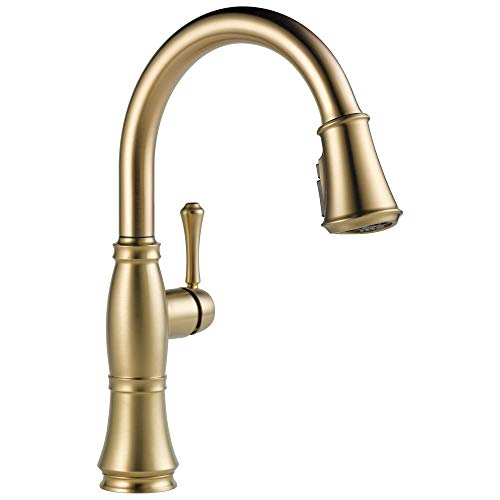 Delta Faucet Cassidy Single-Handle Kitchen Sink Faucet with Pull Down Sprayer, ShieldSpray Technology and Magnetic Docking Spray Head, Lumicoat Champagne Bronze 9197-CZ-PR-DST