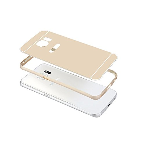 Luch Carcasa para Samsung Galaxy S6 Edge, carcasa de aluminio y metal, marco de aluminio con parte trasera de policarbonato coloreada, para Samsung Galaxy S6 Edge, color dorado