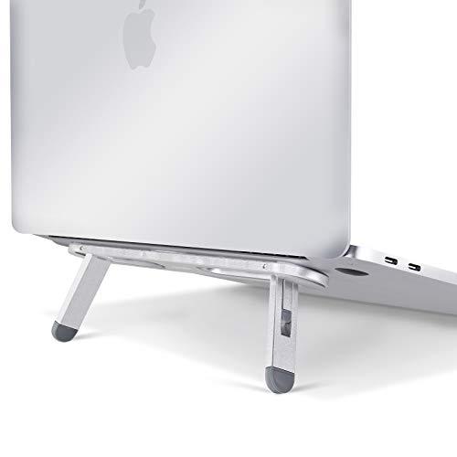 Vaydeer Laptop Stand Verstellbarer Laptopständer Aluminium, Mini Lightweight Laptop Halterung Tragbar Metall Laptop Ständer Halter für MacBook / Pro, Notebook, iPad, Laptops bis zu 17 Zoll - Silber