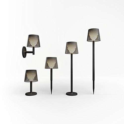 Greta - Aplique de pie o lámpara de pie para exterior con luz solar LED, color negro