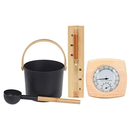 Ensemble de seau de sauna, seau de sauna avec cuillère, seau + cuillère + sablier + thermomètre Ensemble de 4 pièces, Accessoires de bain bain d'eau chaude Sauna étanche, durable, facile à utiliser