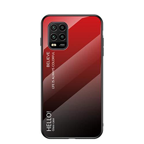BRAND SET Funda para Xiaomi Mi 10 Lite 5G Respaldo de Vidrio Carcasa Diseño Degradado y Borde de Silicona TPU Resistente a los Golpes Fundas Protectora Carcasas para Xiaomi Mi 10 Lite 5G-Rojo
