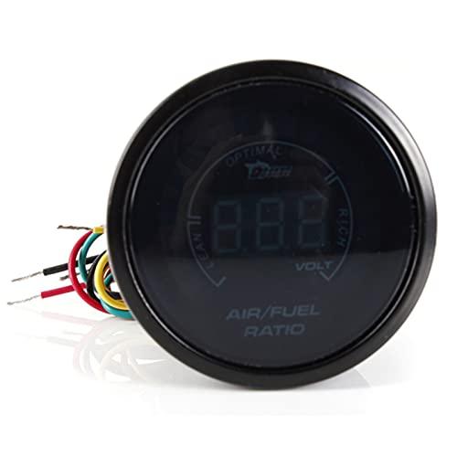 Medidor de combustible de aire digital,Fesjoy 2 '' 52MM 20 luces Digital Car Auto Air/Fuel Ratio Monitor Racing Gauge Analógico