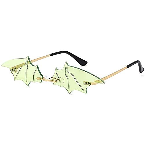 qiaohuan shop Moda hombres mujeres bate gafas de sol vintage sin marco espejo sin montura Gafas de sol Único UV400, 4, Bronce,