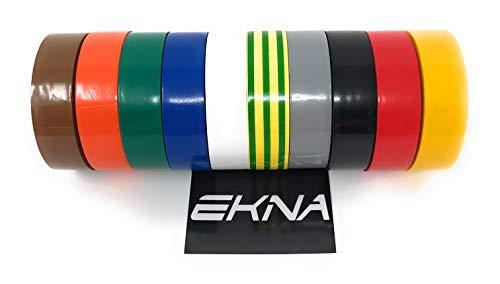 EKNA - Cinta aislante eléctrica (10 unidades, 19 mm/20 m), varios colores