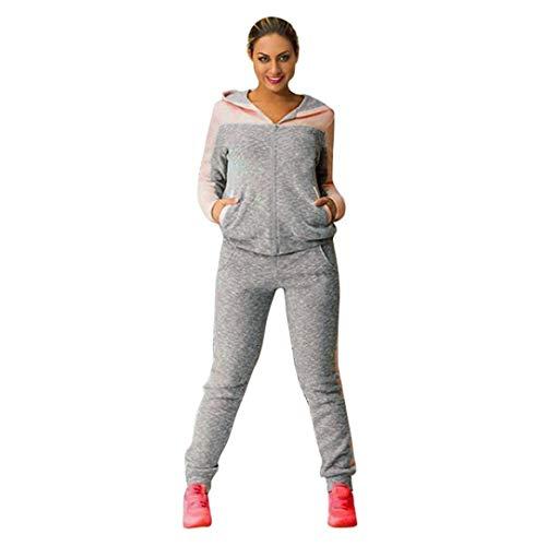 Survêtements 2 Pièce pour Femmes Sweats à Capuche Sweat-Shirt + Pantalon Habit de Sport Gym Yoga Jogging Ensemble DE 2 Pièces (Rose, L)