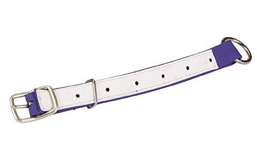 Agrarflora Halsriemen für Schafe und Ziegen, Blau, 60cm, mit Leder verstärkt, verstellbares Halsband mit Schnalle und D-Ring