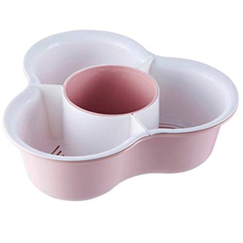 Praktische 2 in 1 Plastic Double Tap Basket Wash Noodles Rice plantaardige mand vergiet Zeef fruitschaal Keuken Storage (Color : Pink, Size : 34.5x20x12cm)