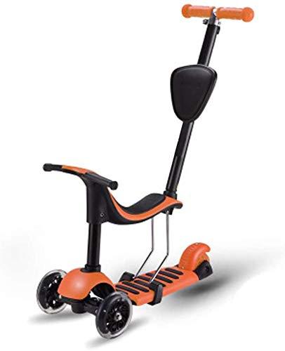 HFJKD T-Bar Seat Scooter 3 wielen Kids Scooter opvouwbaar Outdoor verstelbare afneembare stoel Scooter duwstang Lichtgewicht