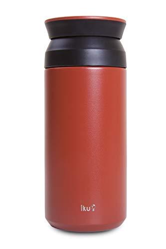 Yum Asia Iku Premium Edelstahl-Doppelvakuumbecher   pulverbeschichtet   auslaufsicher 350ml (Rot)