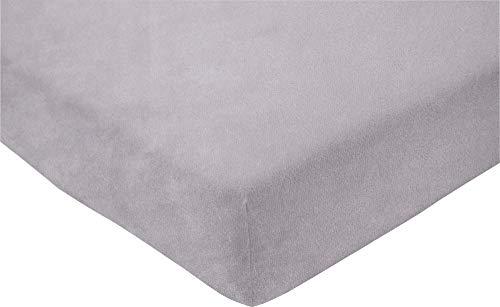 ESTELLA Spannbetttuch Samt Velours | Frottee | Platin | 150x200 cm | passend für Matratzen 140-160 cm (Breite) x 200 cm (Länge) | trocknerfest und bügelfrei | 80% Baumwolle 20% Polyester