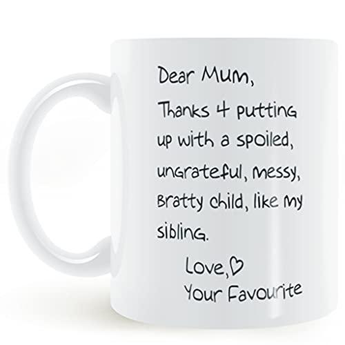Taza de café de 320 ml con asa Taza de Porcelana con Letras Taza de cerámica para la Oficina en casa como Regalo para mamá por el Día de la Madre o Navidad. (Color : Blanco)