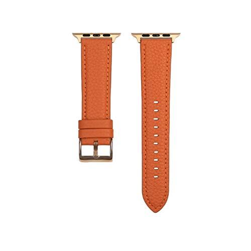NVFED Correa de reloj para Apple Watch Series 6 SE 5 4 3 2 1 auténtica correa de piel de grano litchi para iWatch negro oro rosa hebilla 40 44 mm (color de la correa: naranja, tamaño: 42 mm 44 mm)