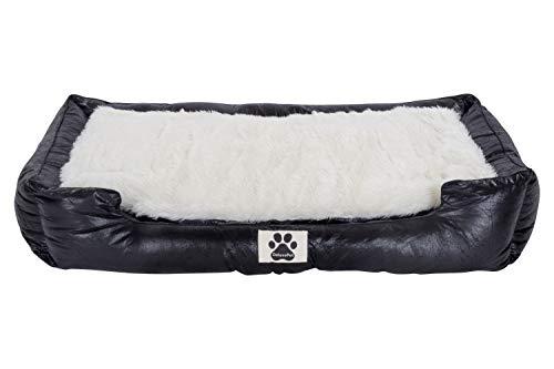 Clamaro 'DeluxePet' Hundebett schwarz 120x80 aus Kunstleder mit 2in1 Wendekissen, Hundekissen für große Hunde mit Einer Fell und Leder Seite, Seiten weich gepolstert, Anti-Rutsch Rückseite