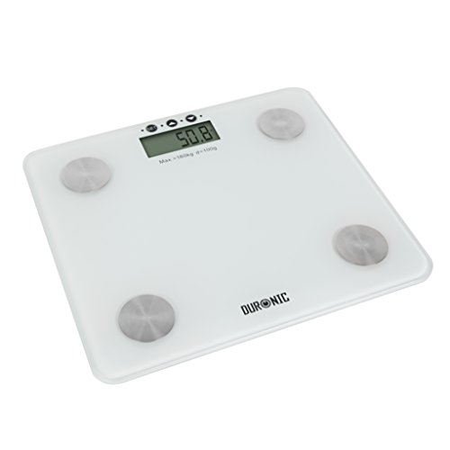 Duronic BS301 Báscula de Baño Digital de Alta Precisión Análisis de Masa Corporal Índice de Grasa, Porcentaje de Masa Muscular, Porcentaje de Líquidos, Peso Óseo