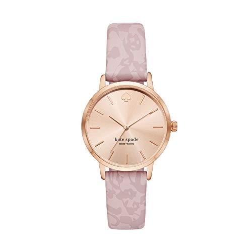 kate spade new york Women's Metro Quartz Watch with Leather Strap, Pink, 16 (Model: KSW1671)