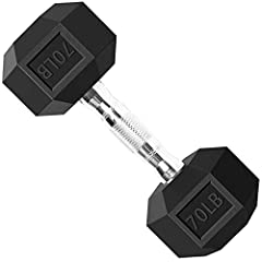Balelinko Hex Dumbbells Free Weights Set with Metal Handles Rubber Encased Solid Cast Iron Hex Dumbbell in Single, 70 LBS