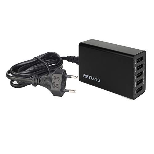 Retevis Cargador con 5 USB Puertos 40W 8A Compatible con Walkie Talkie Retevis RT24 RT22 RT7 RT27 RT45 RT28 RT617 RT618 RT619 Baofeng BF-88E Proster T0036X2 Caroger CB100 y Teléfono Tablet Pc