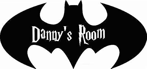 Personalized Name Vinyl Decal Sticker Custom Initial Wall Personalization Decor Boys Room Batman Bat Symbol Cartoon Kids Bedroom 12 X 20 Inches